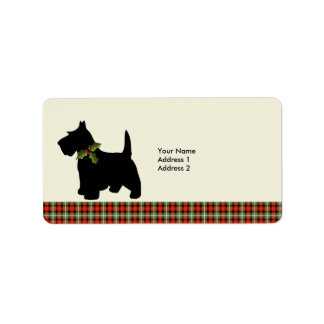 Scottie Dog Scotch Plaid Christmas Custom Label