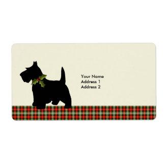 Scottie Dog Scotch Plaid Christmas Cute Label