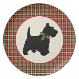 Scottie Dog Scotch Plaid Christmas Dinner Plate