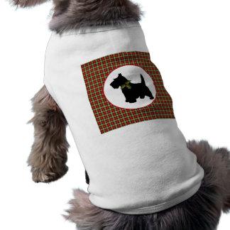 Scottie Dog Scotch Plaid Christmas Doggie Tee Shirt