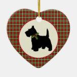 Scottie Dog Scotch Plaid Christmas Double-Sided Heart Ceramic Christmas Ornament