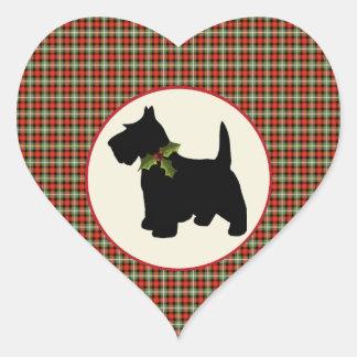 Scottie Dog Scotch Plaid Christmas Heart Sticker