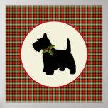 Scottie Dog Scotch Plaid Christmas Holiday Dog Poster