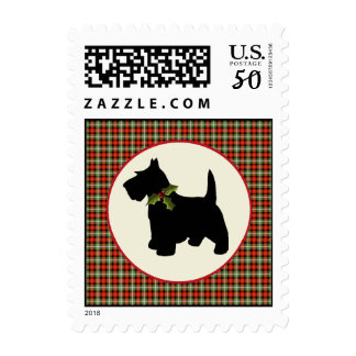 Scottie Dog Scotch Plaid Christmas Holiday Pet Postage