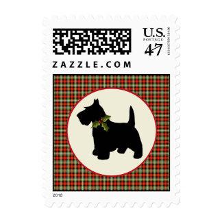 Scottie Dog Scotch Plaid Christmas Holiday Pet Postage Stamp