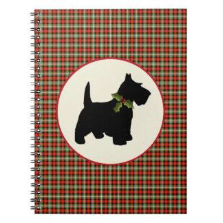 Scottie Dog Scotch Plaid Christmas Notebook