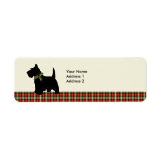 Scottie Dog Scotch Plaid Christmas Personalized Label