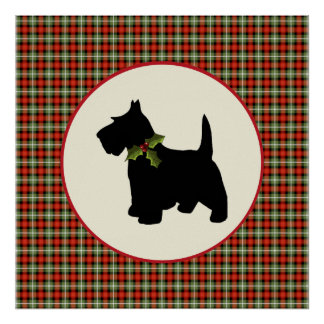 Scottie Dog Scotch Plaid Christmas Posters