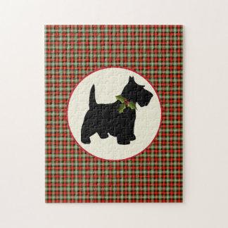 Scottie Dog Scotch Plaid Christmas Puzzle