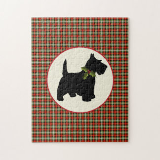Scottie Dog Scotch Plaid Christmas Puzzles