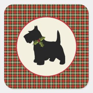 Scottie Dog Scotch Plaid Christmas Square Sticker