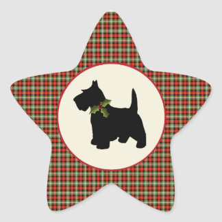 Scottie Dog Scotch Plaid Christmas Star Sticker