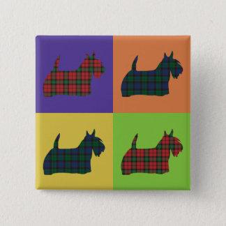 Scottie Dog - Tartan Pop Art Style Button