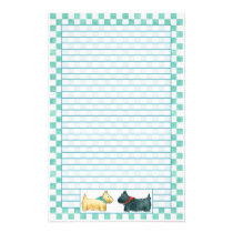 Scottie Dog Teal Green Watercolor Checks Lined Stationery