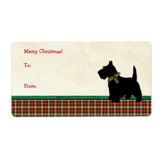 Scottie Dog Traditional Plaid Christmas Custom Label