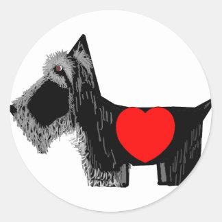 Scottie Dog Valentine Classic Round Sticker