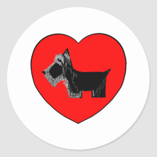 Scottie Dog Valentine Heart Classic Round Sticker