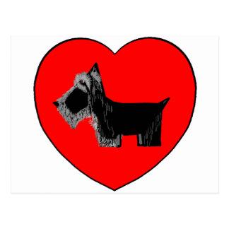 Scottie Dog Valentine Heart Postcard