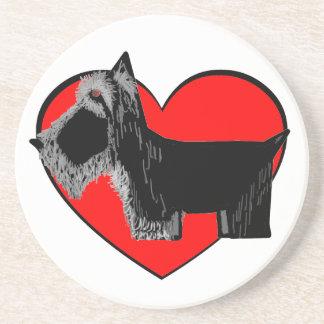 Scottie Dog Valentine on removable Heart Sandstone Coaster