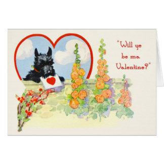 Scottie Dog Valentine Scottie with heart in mouth Card