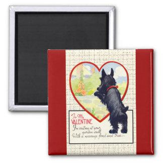 Scottie dog Valentine Scottish Terrier 2 Inch Square Magnet