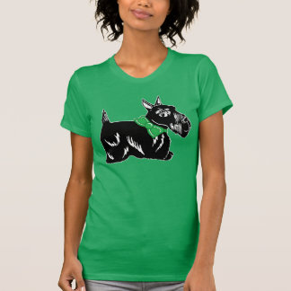 Scottie Dog with a Bow Women's Kelly Green T-Shirt