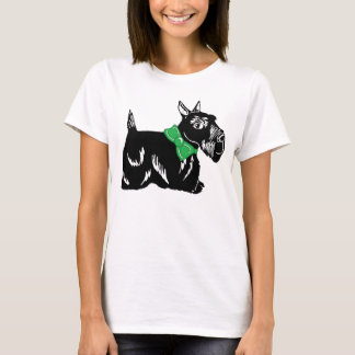 Scottie Dog with a Green Bow Women's T-Shirt