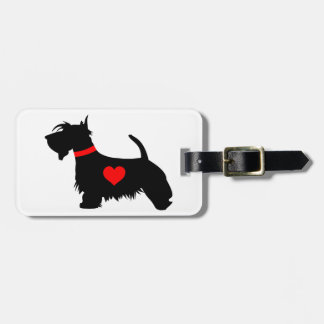 Scottie dog with heart luggage tag