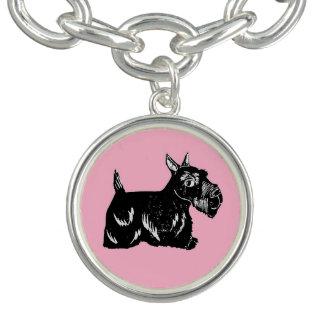 Scottie Dog with Pink Charm Bracelet