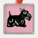 Scottie Dog with Pink Premium Square Ornament