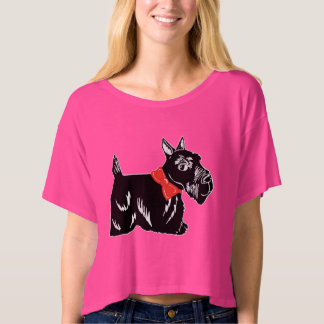 Scottie Dog with Red Bow Women's Boxy Crop Top