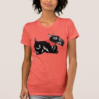 Scottie Dog with Red Bow Women's Coral T-Shirt