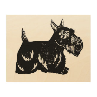 Scottie Dog Wood Canvas, 10 x 8 Inches Wood Wall Decor