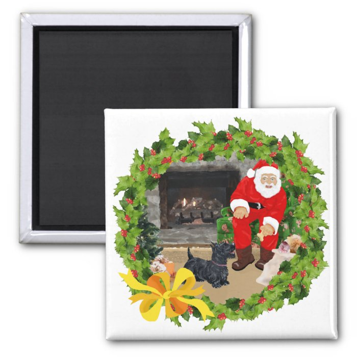Scottie Dogs at Christmastime 2 Inch Square Magnet