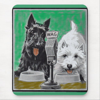 Scottie dogs Blackie and Whitie on the radio Mouse Pad