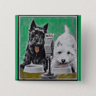 Scottie dogs Blackie and Whitie on the radio Pinback Button
