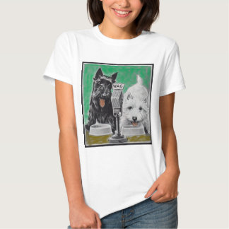 Scottie dogs Blackie and Whitie on the radio T Shirt
