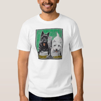 Scottie dogs Blackie and Whitie on the radio T-shirt