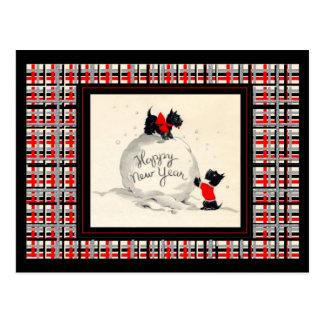 Scottie dogs happy new year postcard