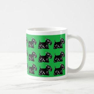 Scottie Dogs Pattern with Green Drinkware Coffee Mugs