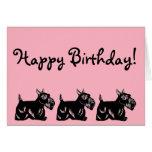 Scottie Dogs Pink Happy Birthday Card
