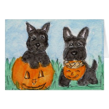 Halloween Themed Scottie Dogs pumpkins Halloween etc. terrier Card