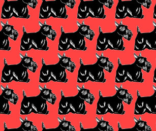 Scottie Dogs Red All Over Print Tote Bag