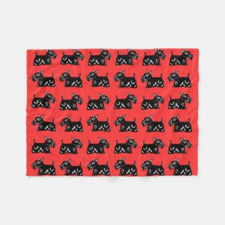 Scottie Dogs Red and Black Pattern Fleece Blanket