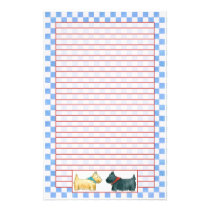 Scottie Dogs Watercolor Blue Check Red Lined Stationery