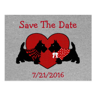 Scottie Dogs Wedding Save The Date Postcard