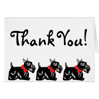 Scottie Dogs with Red Bows Thank You Note Card
