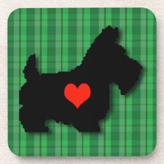 Scottie Heart Love Square Cork Coaster