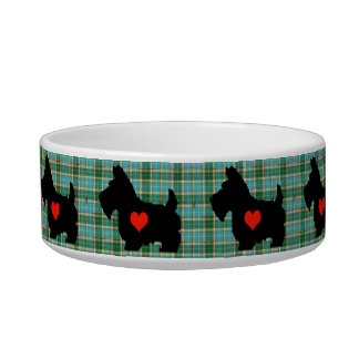 Scottie Heart Tartan Dog Bowl