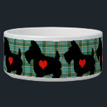 "Scottie Heart Tartan Dog Bowl<br><div class=""desc"">A ring of valiant little Scotties,  showing that big heart,  set against a blue and green tartan background.</div>"